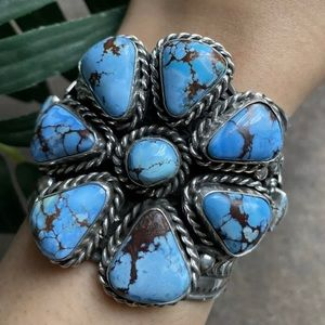 Jewelry - S.S.Golden Hill Turquoise Cluster Cuff Bracelet TJ